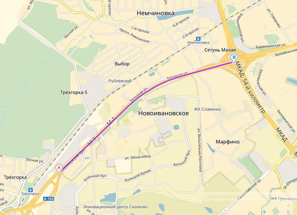 от пересечения Можайского и Минского ш. на выезде из Одинцово в сторону Москвы