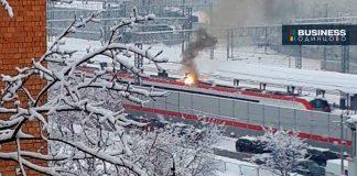 Горит поезд метро Одинцово
