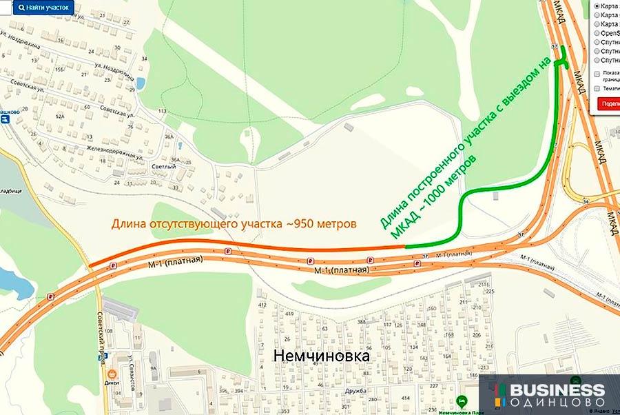 Выезд на МКАД из Ромашково и Немчиновки