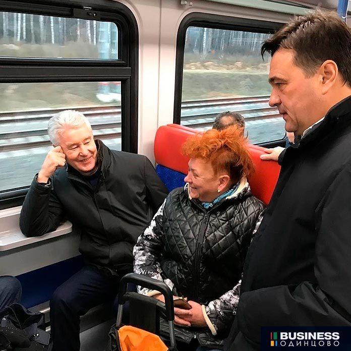 Мэр Москвы Сергей Собянин вместе с губернатором Подмосковья Андреем Воробьевым проехали по Московским центральным диаметрам.