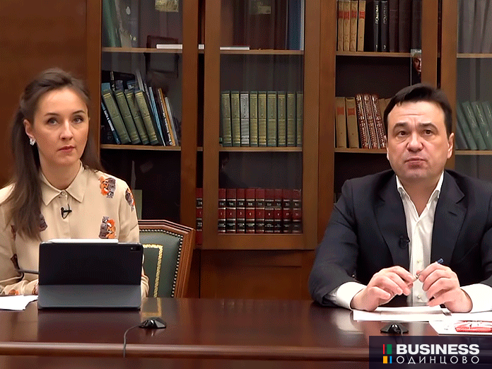 Губернатор Московской области Андрей Воробьев и министр образования Московской области Ирина Каклюгина