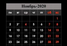 Выходные в ноябре 2020
