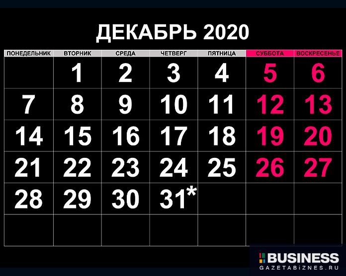 Декабрь 2020: производственный календарь