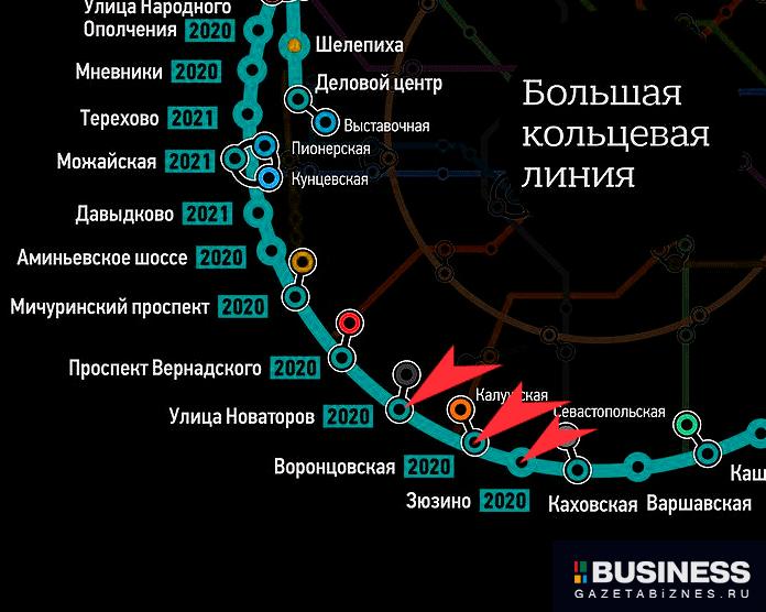 станции метро «Новаторская», «Воронцовская» и «Зюзино»