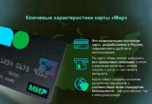 Ключевые характеристики карты МИР