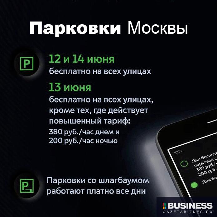 12 и 14 июня, в честь Дня России, припарковаться на любой улице Москвы можно будет бесплатно