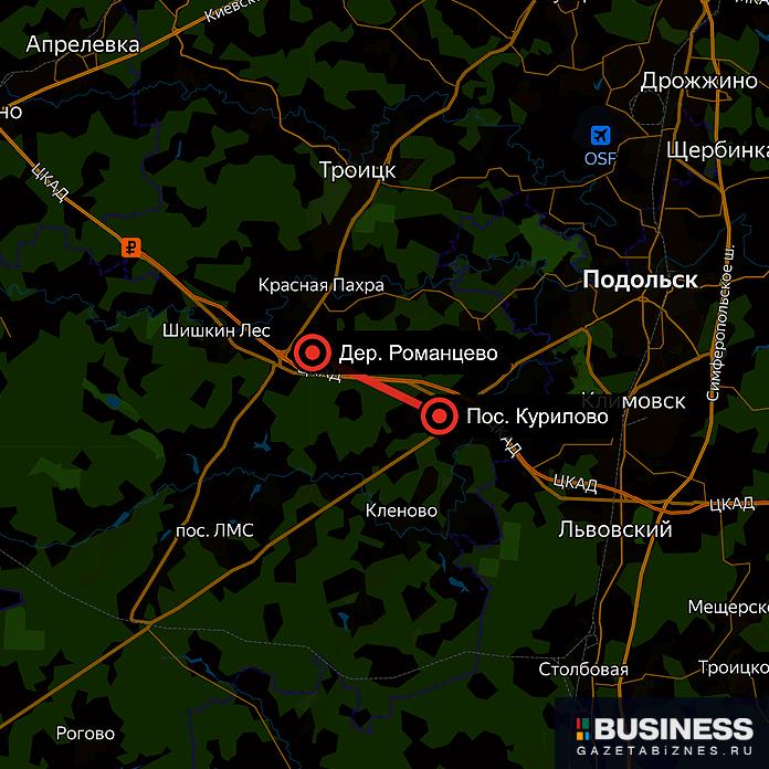 Где пройдет 10-километровая трасса газопровода в ТинАО (неточная схема)